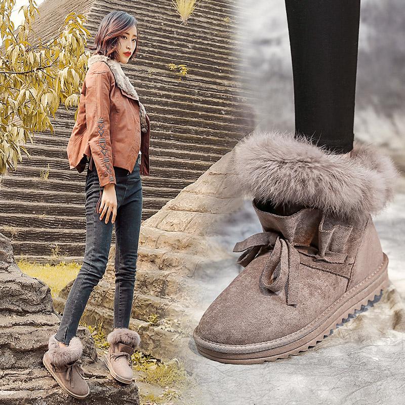 新款雪地靴女秋冬季短靴子2018百搭韩版加绒棉鞋学生平底潮女鞋
