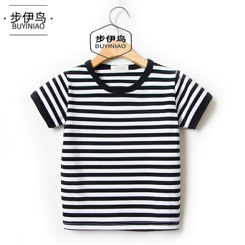 步伊鸟夏季男童女童宝宝海魂衫童装棉质短袖t恤海军风儿童条纹学