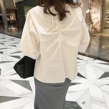 C64韩国女装代新品2019设计感抽绳宽松简约夏女套头衬衫五分袖棉