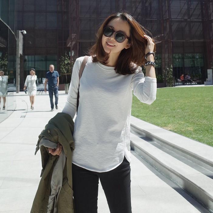 T93韩国女装代竹节棉设计感简约秋冬女圆领套头长袖T恤打底衫显瘦