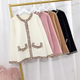 高品质 小香风水貂黄金绒毛衣外套短款珍珠扣针织开衫  秋装新款图片
