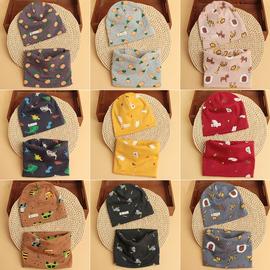 女童冬男童儿童纯棉帽子围脖两件套宝宝帽围巾套装婴儿冬季脖套