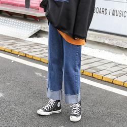 大码女装直筒牛仔裤2020年新款秋季200斤胖妹妹mm遮胯显瘦裤子潮