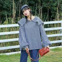 加大码女装胖mm秋装温柔风设计感小众心机格子长袖衬衫上衣女韩版