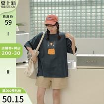 加肥加大码女装胖妹妹mm宽松遮肚洋气上衣潮韩版显瘦短袖t恤200斤