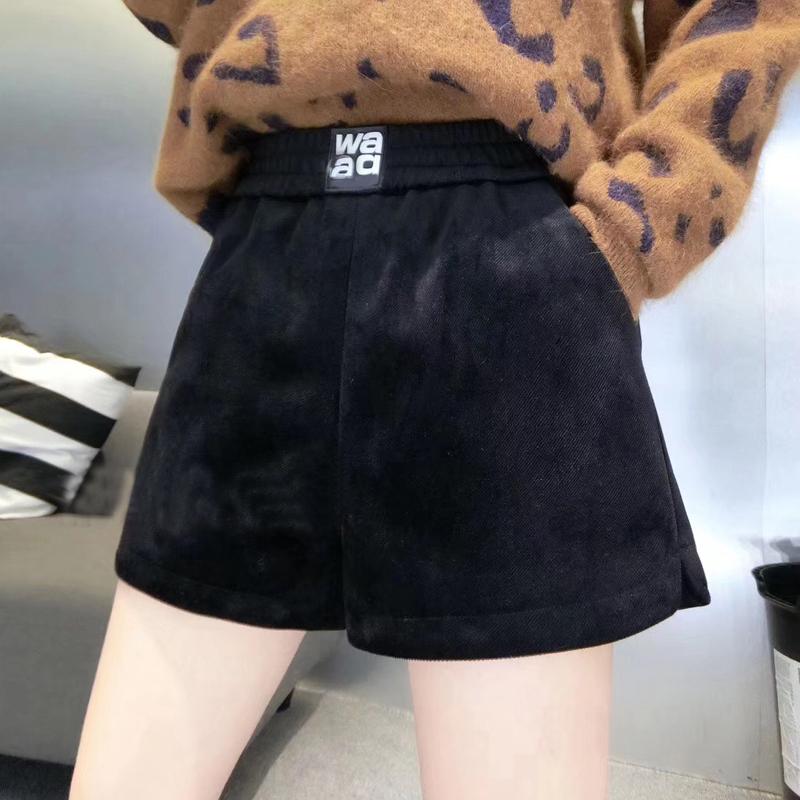 金丝绒短裤女秋冬2019新款高腰外穿阔腿a字宽松大码黑色冬天靴裤