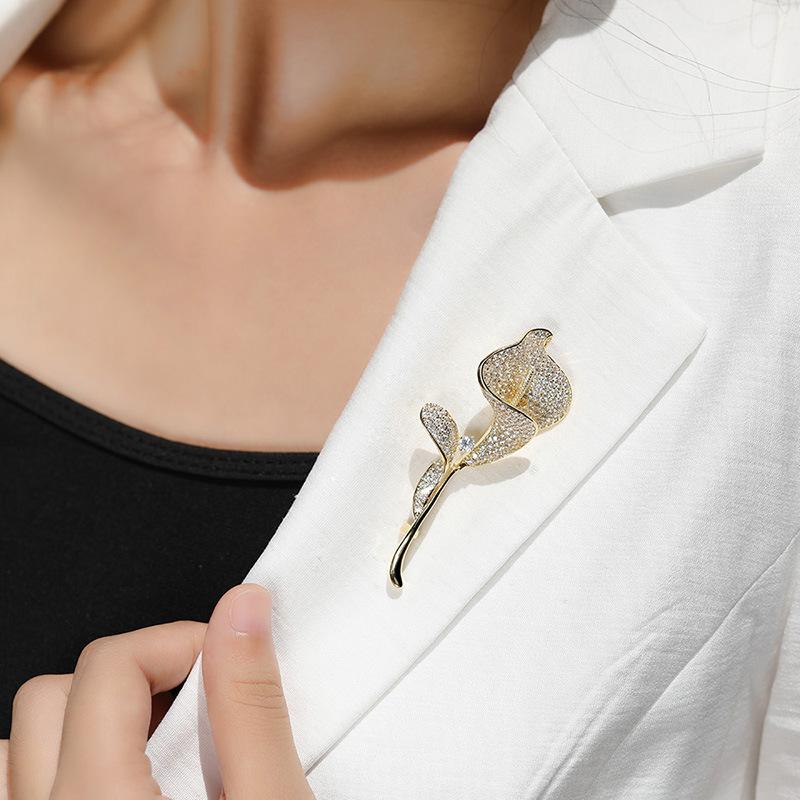 丽歌饰品 高档郁金香胸针 奢华大气开衫胸花别针西装配饰一件代发