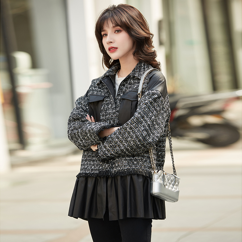 Leading fashion stitching small fragrant leather coat 2020 spring and autumn new fashion loose style short coat coat woman