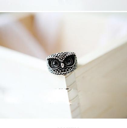 韩版经典动物乖巧猫头鹰戒指 复古呆萌戒指