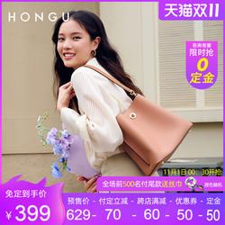 红谷包包2021新款潮牛皮时尚单肩手提包女式休闲斜挎大容量水桶包