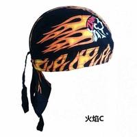 头巾海盗帽单车户外帽子街舞嘻哈运动厨师帽火焰民族风黑红男女夏