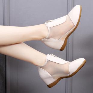2020新款春夏坡跟中跟内增高女鞋