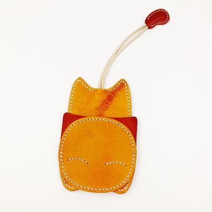 沐铍工坊 手工招财猫钥匙包  意大利buttero植鞣小牛皮