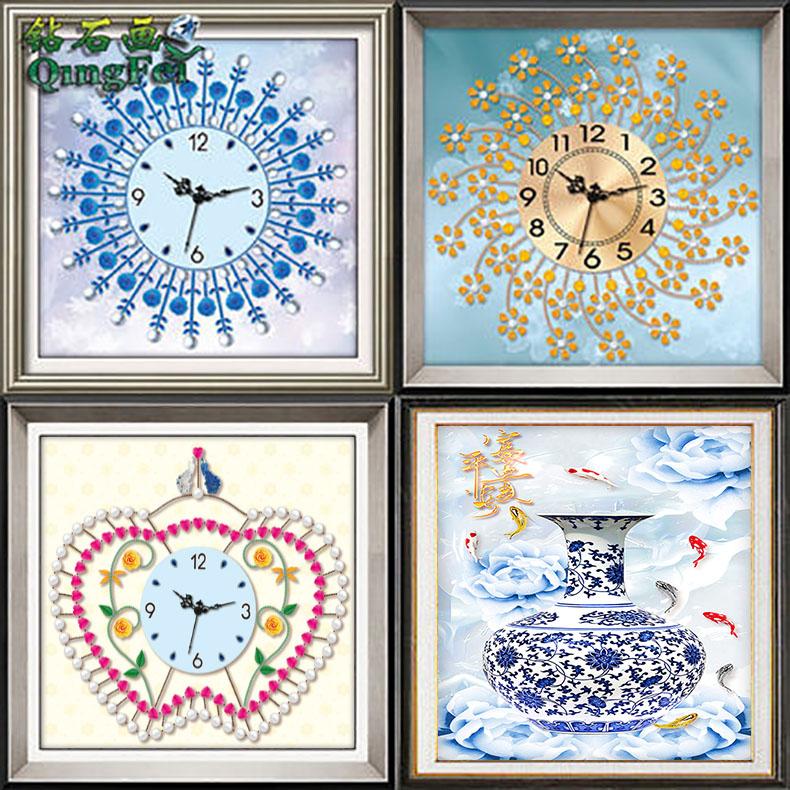 青飞5D蓝玫瑰繁华钻石画钟表红苹果简约花瓶青花瓷富贵十字绣
