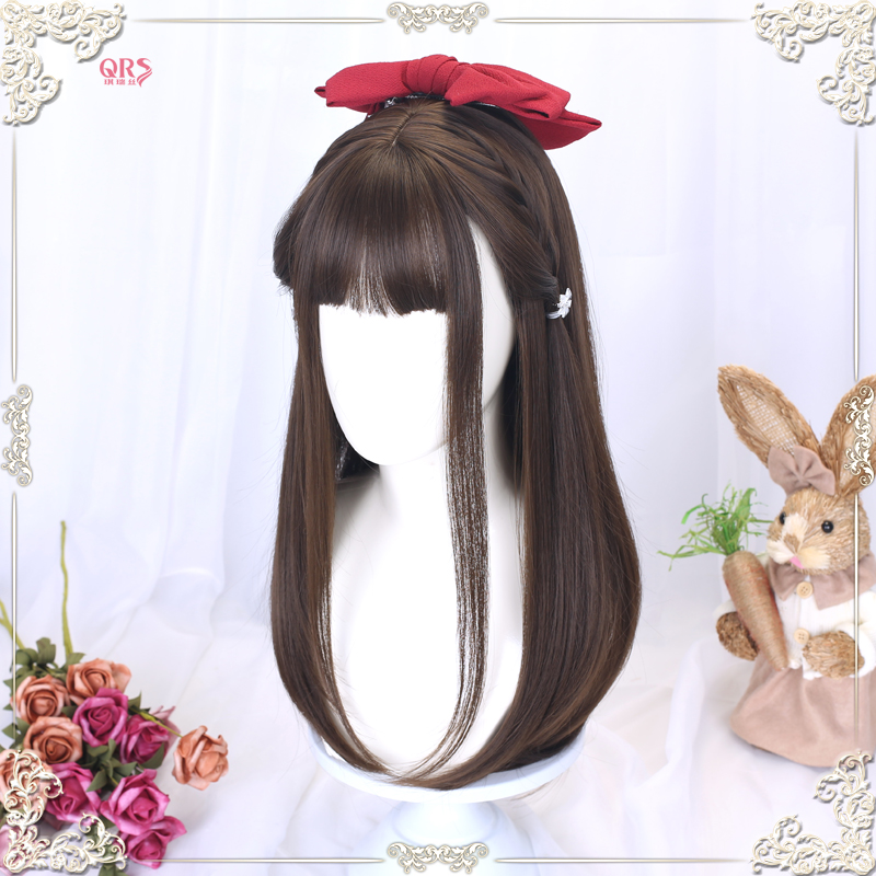 Wig female long hair Lolita medium length straight hair net red daily JK Wig Natural lifelike Lo false hair