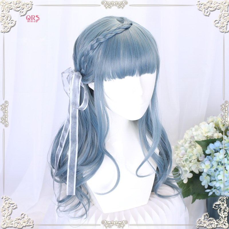 Blue wig female long curly hair Lolita net red round face big wave face dressing Harajuku soft girl full head cover