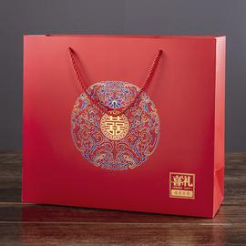 大號喜禮手提袋中國風結婚裝秀禾服煙酒紅色回禮袋子伴手禮品喜糖圖片