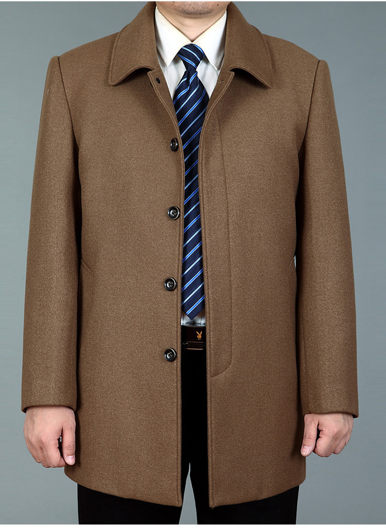 Autumn and winter clothes fathers jacket middle-aged and old mens woolen coat middle-aged mens Lapel plus fat oversize coat