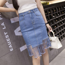 Spring and summer styles irregular fringed denim dress skirt long splice female dress in light blue skirt flows