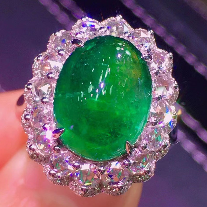 Meijing natural emerald egg Ring 18K gold inlaid vitreous emerald bare stone egg ring