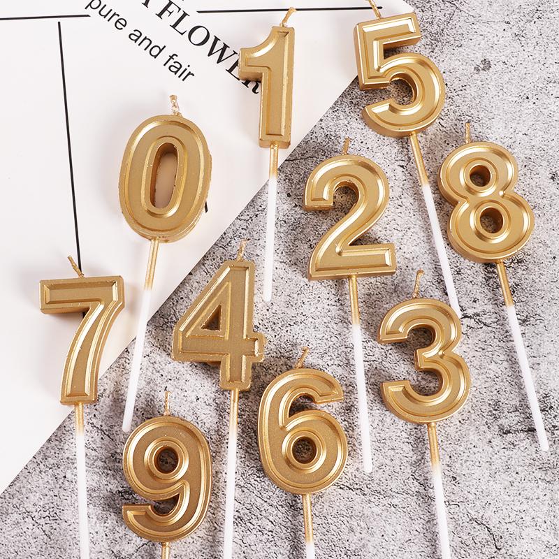 金色数字蜡烛大号生日蜡烛周岁满月儿童生日派对蛋糕装饰摆件插件