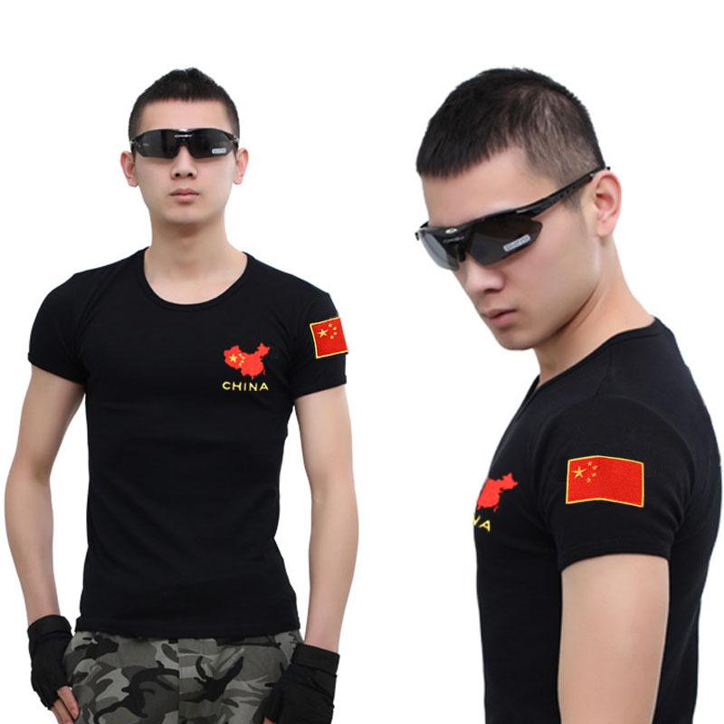 野战特种兵军迷刺绣国旗部队军装军人男短袖t恤半袖修身紧身衣服