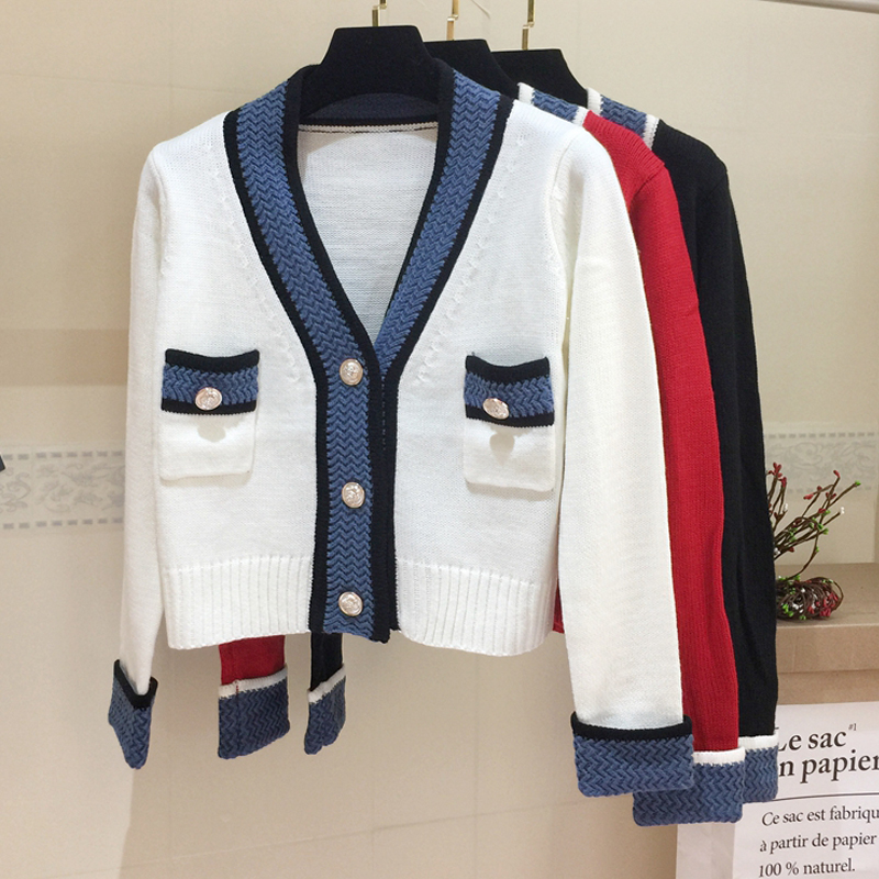 2019 new coat autumn winter woolen cardigan small fragrance knitting top color matching V-Neck Sweater womens fashion