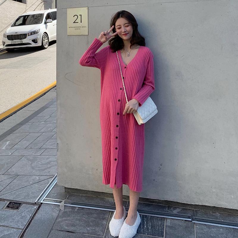 夏梦显瘦秋冬季针织连衣裙女2019新款中长款矮个子气质打底裙子潮
