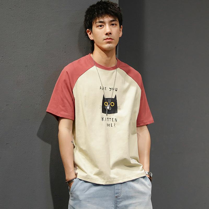 马切达夏季男装日系复古趣味男t恤限1000张券