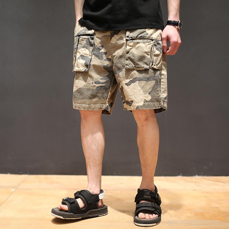 原创夏季新款日系男士工装迷彩短裤青年做旧直筒五分裤子潮流中裤