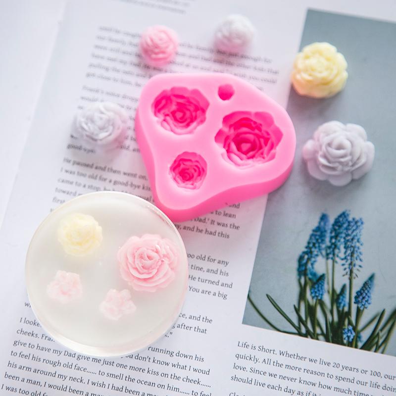 DIY克6爱皂坊四连花开模具手工香皂硅胶模巧克力矽胶模出皂约