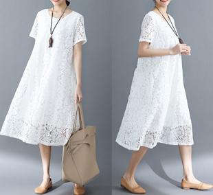 韩版 女装 新款 宽松大码 连衣裙 2020好质量夏季 蕾丝简约百搭短袖