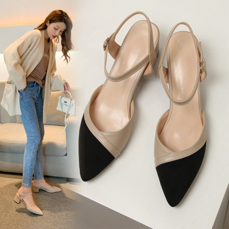 2021 spring and summer Baotou sandals womens shoes medium thick heel hollowed out one-line buckle Beige black color matching suede fairy versatile shoes