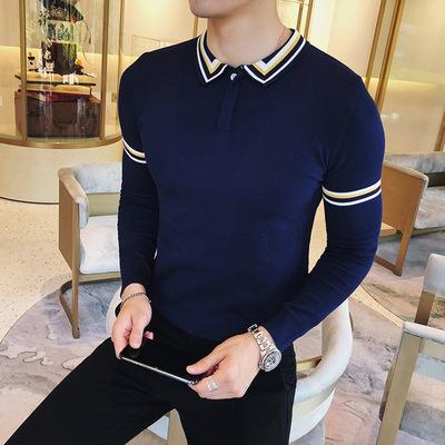 男士翻领毛衣修身POLO领针织衫长袖T恤XZ401-2-M07-P65