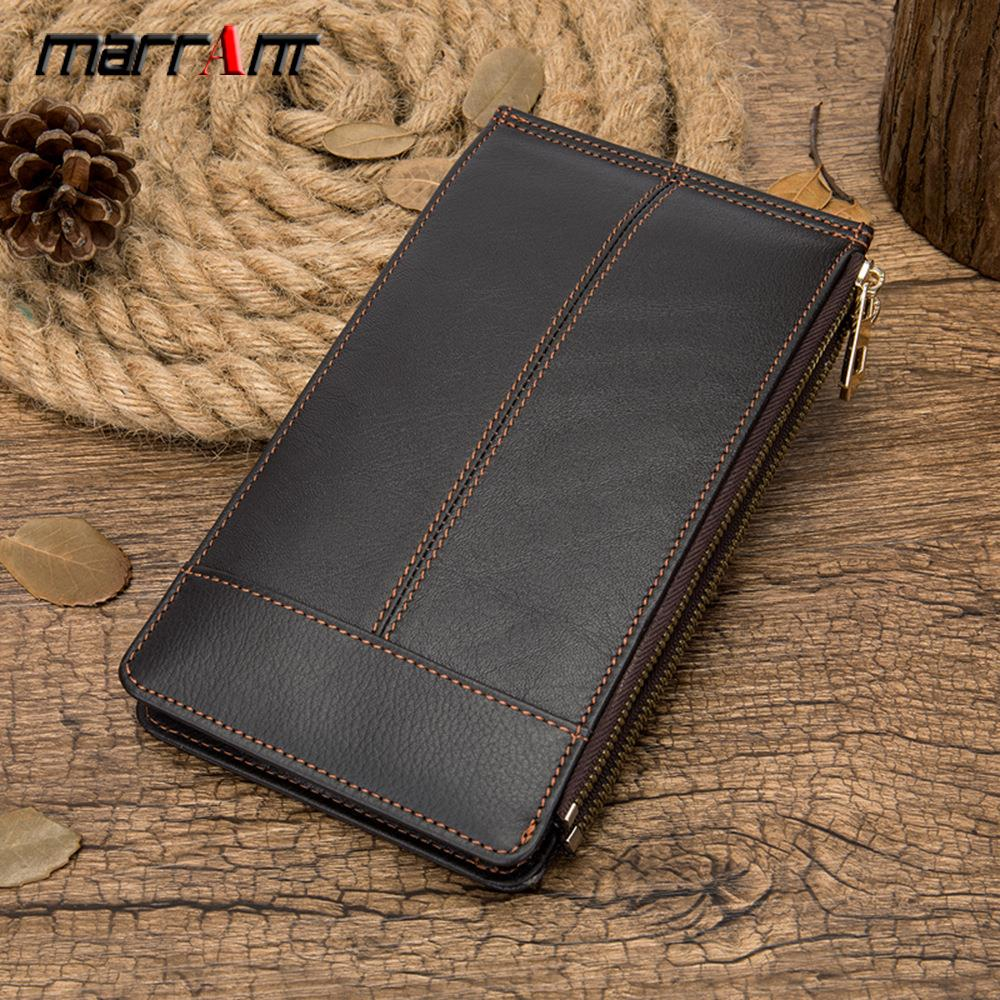 New style leather mans wallet card bag business retro multi card long hand bag