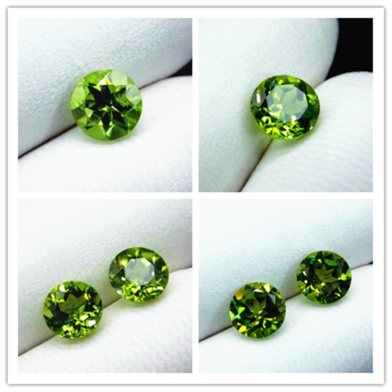 Chrysolite regular Round Diamond Gemstone Ring Ring Face Pendant Earrings emerald green video display package