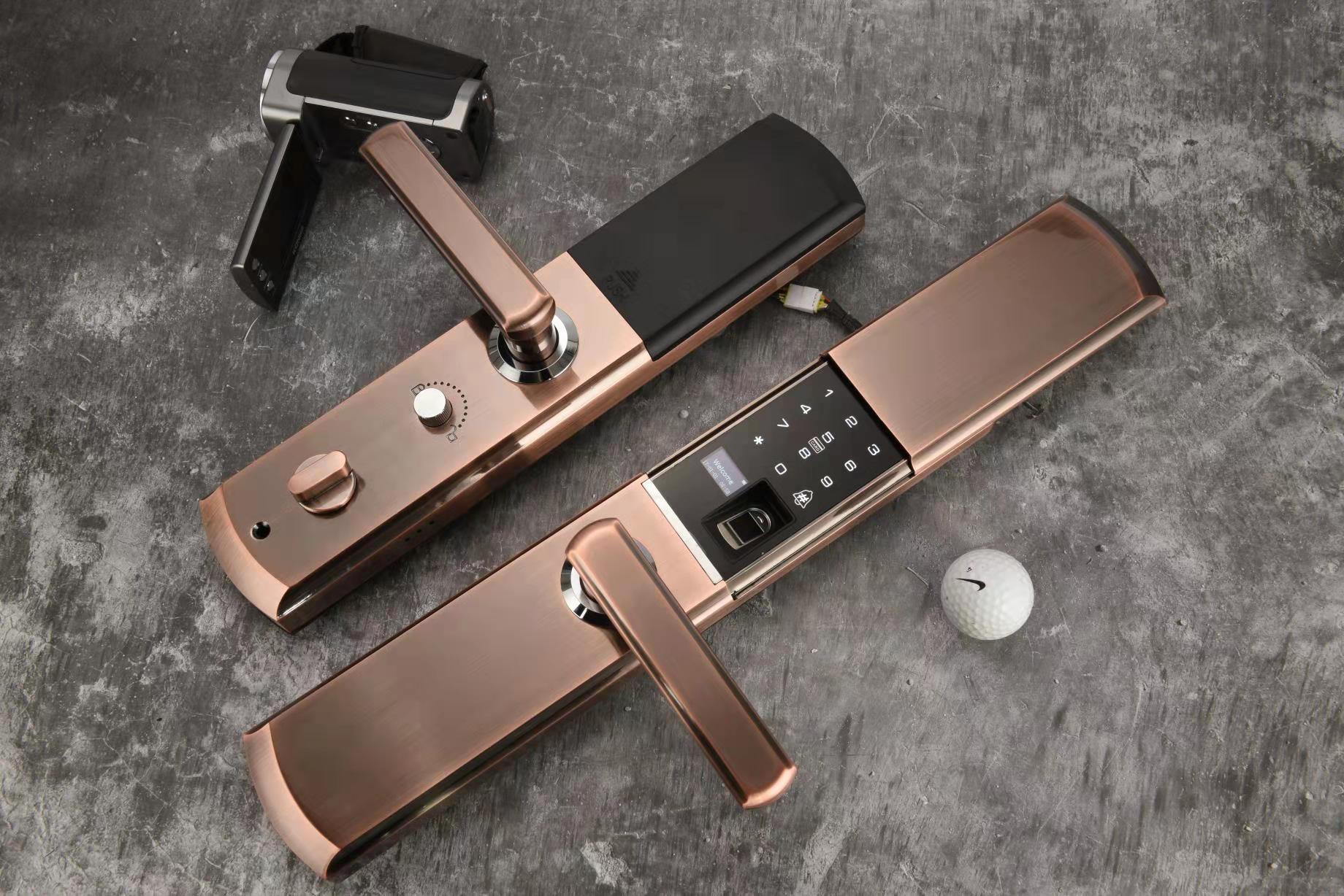 TRJZN智能指纹锁电子门锁密码刷卡手机远程防小黑盒免邮包安装