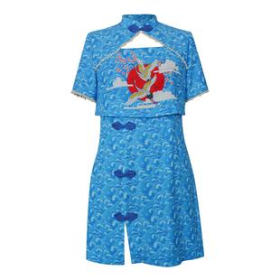 新式藍色海浪國風顯瘦修身顯高元氣少女低領日常改良旗袍2020春新