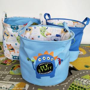 北欧儿童玩具收纳筐布艺宝宝衣物整理储物桶卡通收纳篮大号脏衣篮