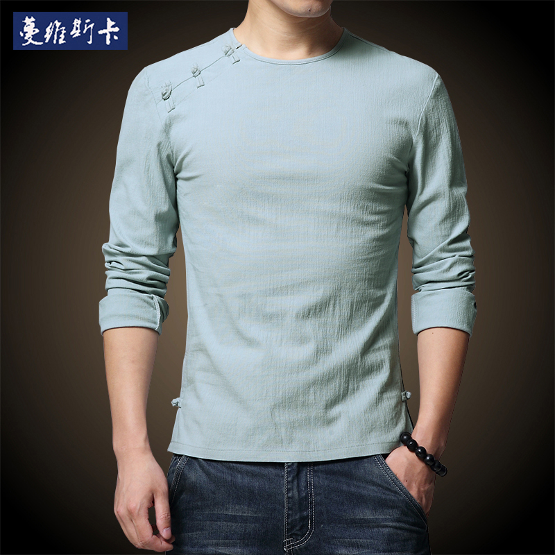 秋季男士唐装中国风盘扣圆领棉麻长袖汉服青年修身民族风长袖T恤