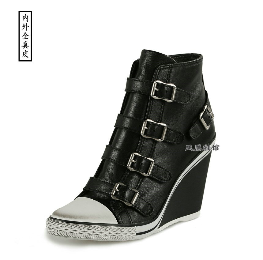 Korean version black sheepskin high top single shoes high comfort sports high slope Handmade Large and small leather womens shoes
