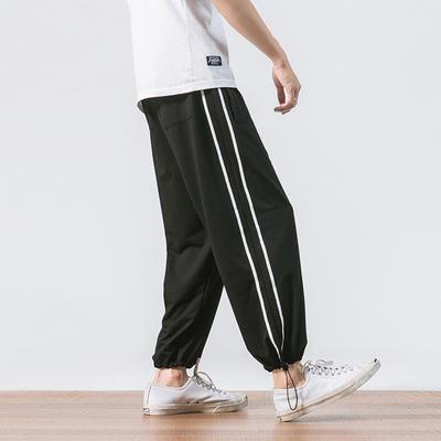 K91-P50条纹裤子男宽松薄款九分裤加肥大码裤子束脚哈伦裤M-5XL
