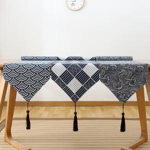 日式和风棉麻桌旗 格子茶席禅意亚麻布艺日本床旗复古桌布盘垫子