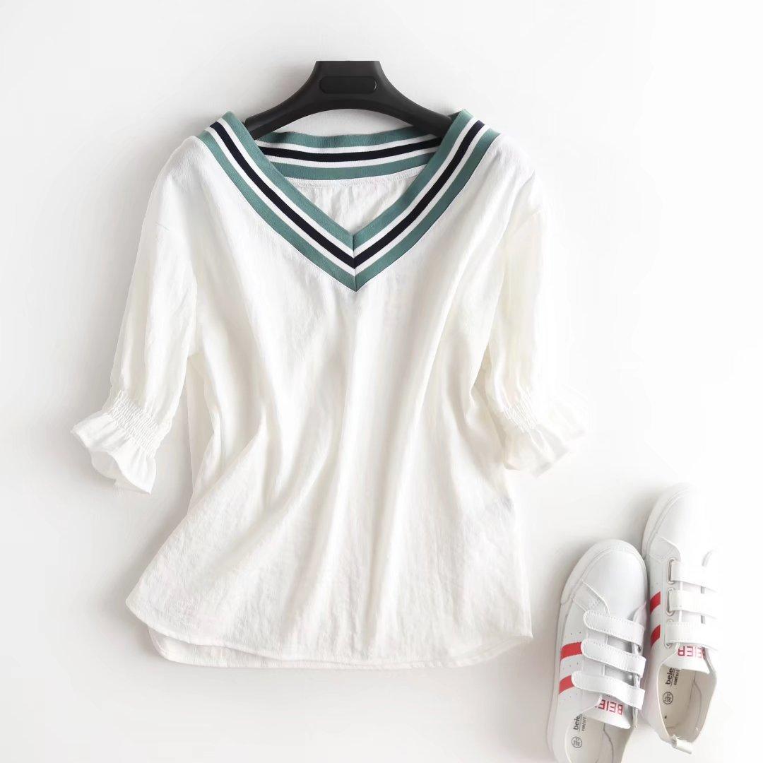 外贸女装尾货折扣清仓余单欧美新款蓝白条纹螺纹V领灯笼袖套头T恤