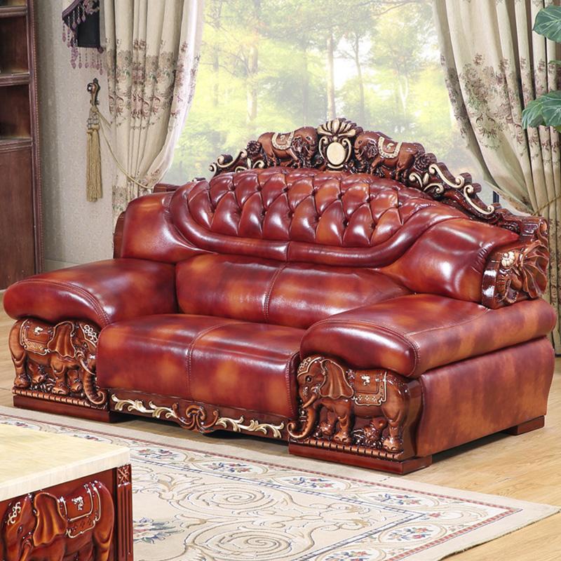 别墅进口头层牛皮客厅组合真皮沙发
