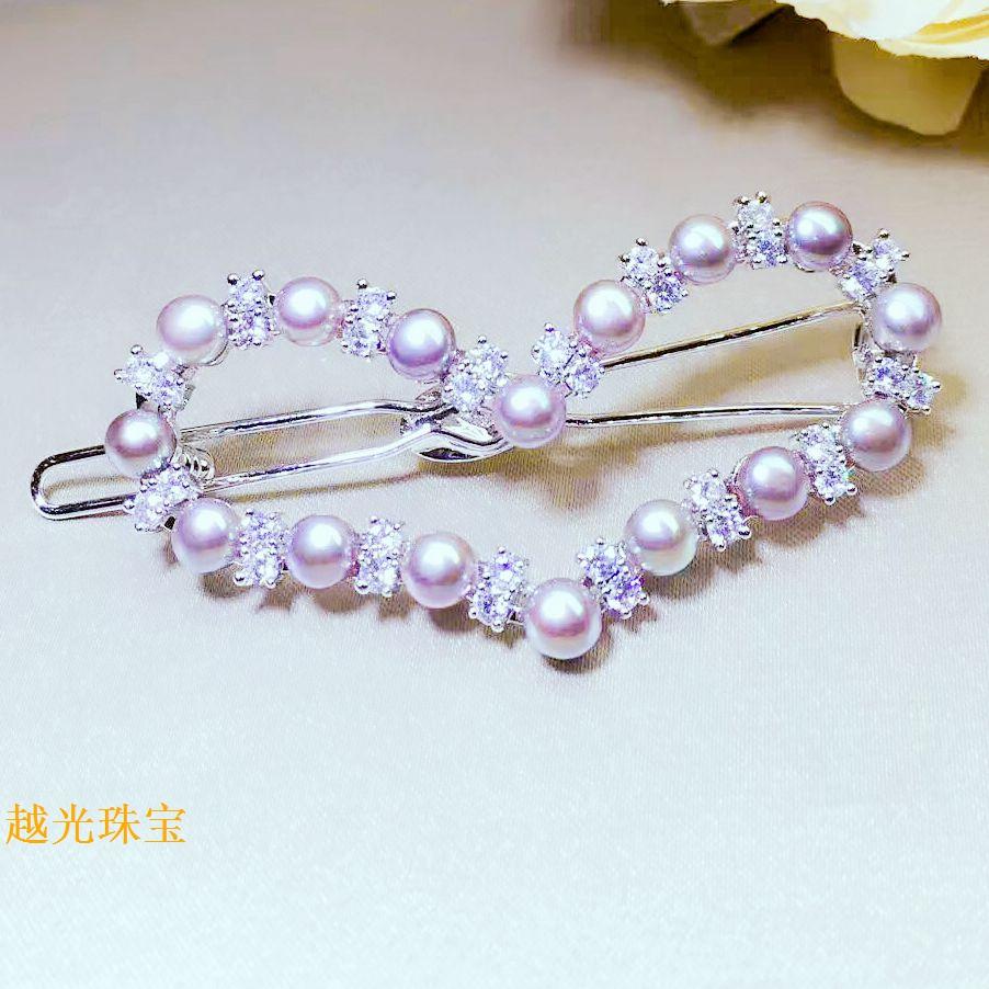 越光珠宝 爱心形天然珍珠发夹日韩国时尚清新甜美发饰