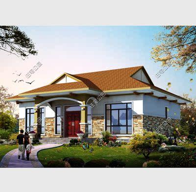 住宅公园农村自建房图纸设计 一层欧式别墅全套图纸 占地13×10