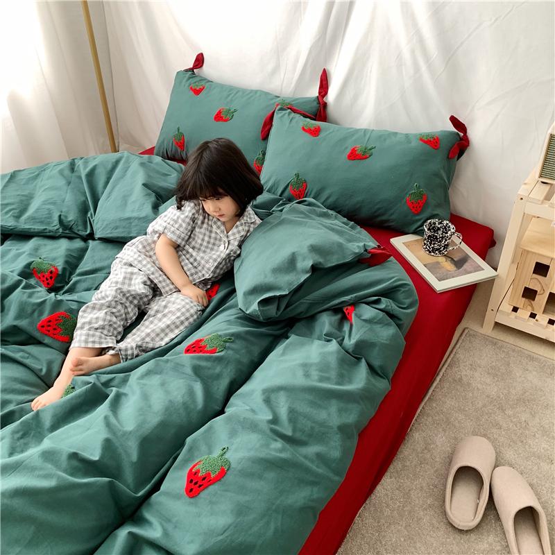 少女心纯棉四件套水洗棉裸睡被套刺绣蝴蝶结被套可爱小清新床品 thumbnail