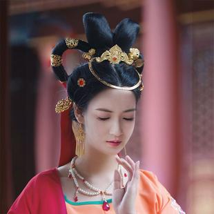 敦煌漢服頭飾壁畫供養人發冠玉兔嫦娥中國風飛天髮飾唐明古風頭冠