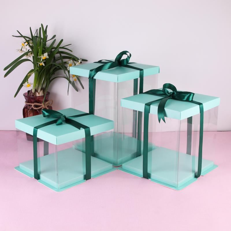 现货绿色6/8/10/12/14寸生日蛋糕盒透明pet围边三合一烘焙包装盒